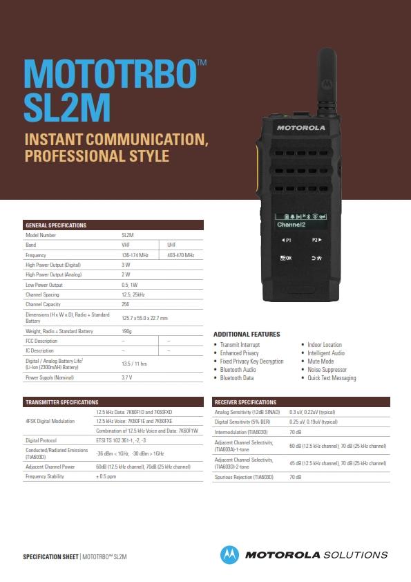 Thông số kỹ thuật SL2M - NHÀ PHÂN PHỐI